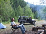 Dan and Jeep camping