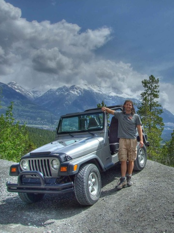 Dan and Jeep above Canmore