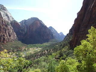 The view along Zion Canyon