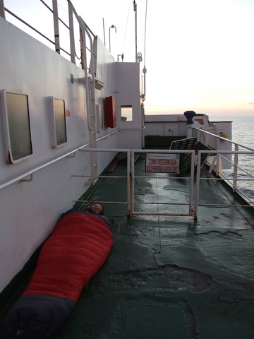 Where I slept on the open deck for the night