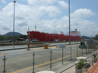 Tanker entering the locks