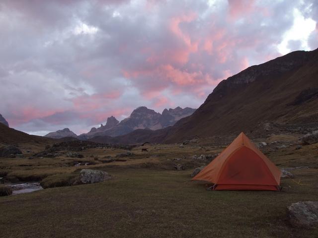 huayhuash campsite sunset 640x480