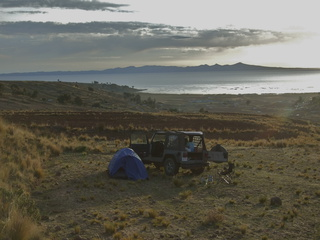 Camping by Lake Titicaca