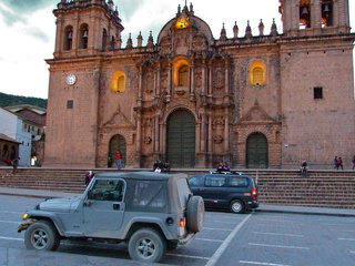 Jeep in the main square of Cuzco