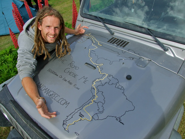 The completed map on the hood - taken at the end of the road in Ushuaia, Tierra Del Fuego
