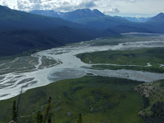 The confluence of the Jarvis and Kaskawulsh rivers