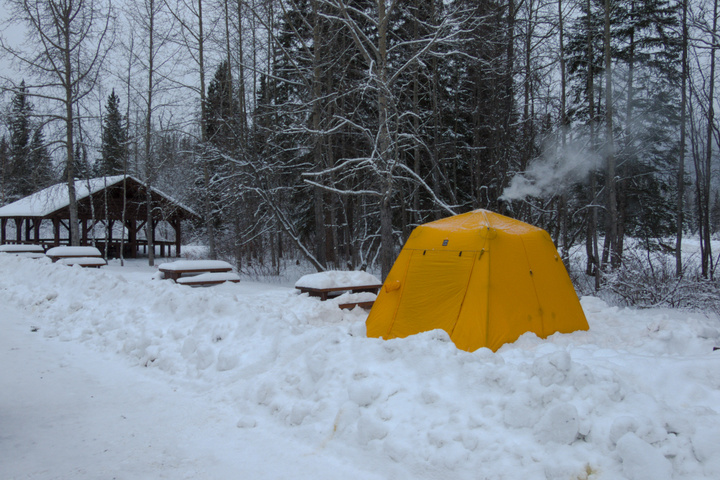 Camping at Liard Hot Springs in the Arctic Oven