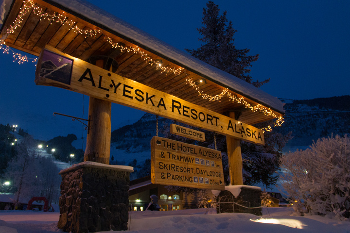 Alyeska Mountain Resort - we walked around the whole village many times at night