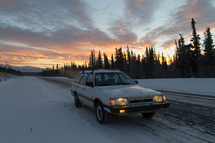 Rusty, my mighty $450 go-anywhere vehicle. With studded winter tires, selectable 4x4 and 3 plugins (block, sump, battery) it's up for the challenges -40C presents.