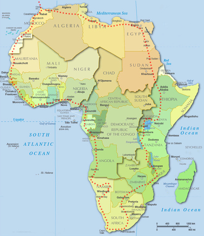 Proposed Africa Route. TBD the best way back to Europe from NE Africa