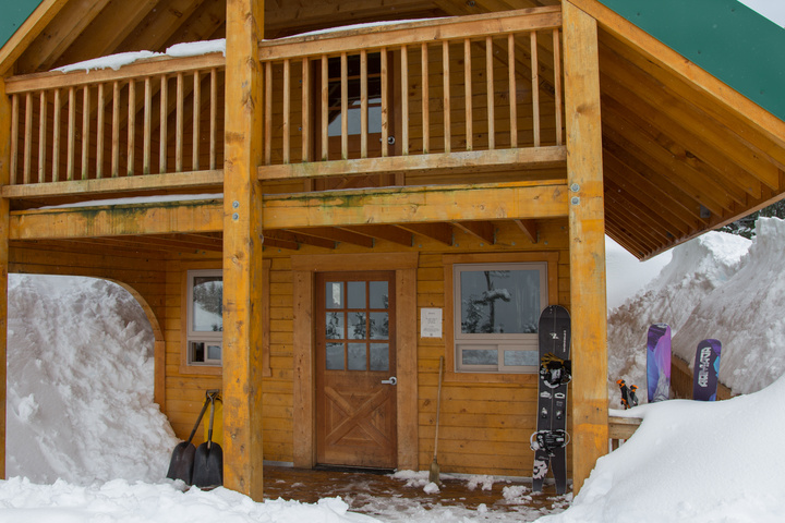 Our home away from home - the Dan Moller Cabin. Notice how deep the snow is