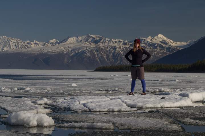 Heather testing her luck on the quickly thawing Kluane Lake
