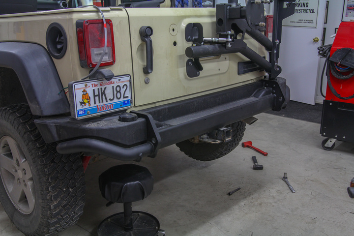 AEV Rear Bumper and Tire Carrier mounted