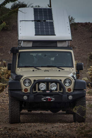 The Renogy Solar Panels on the open Ursa Minor J30 Camper