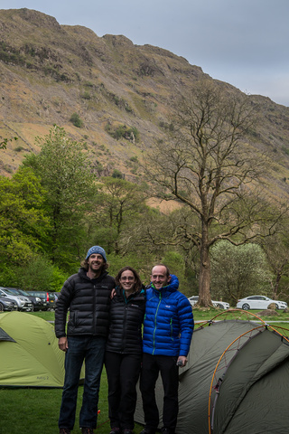 Dan Liz and Simon camping in the Lake District