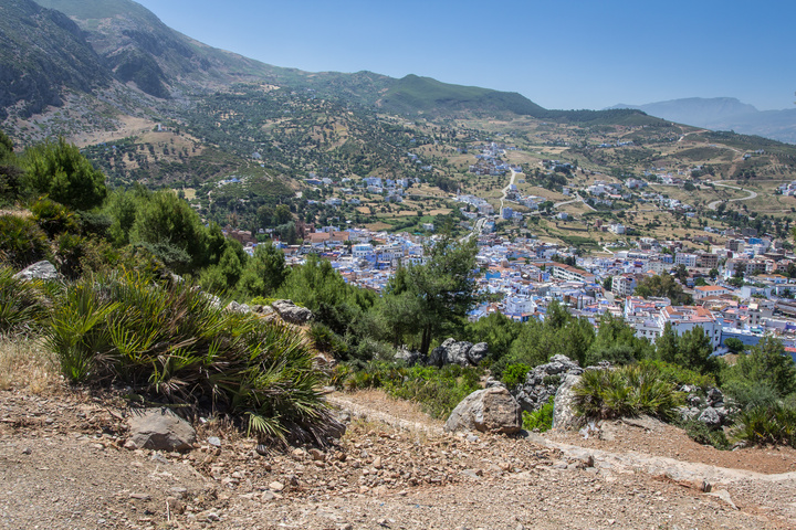 Chefchaouen perched in the Rif Mountains