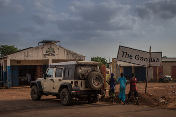 The international border from Senegal to Gambia