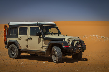 The Jeep at the mighty Sahara Desert