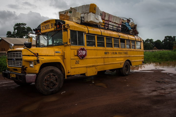 North Carolina school bus at customs in Guinea