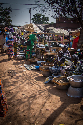 The busy Sunday market in Gaoua