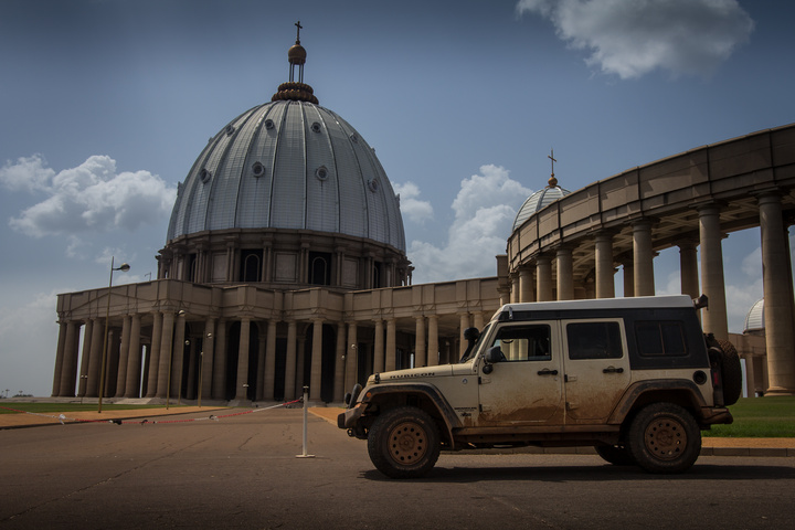The Jeep showing the scale of the whole basilica