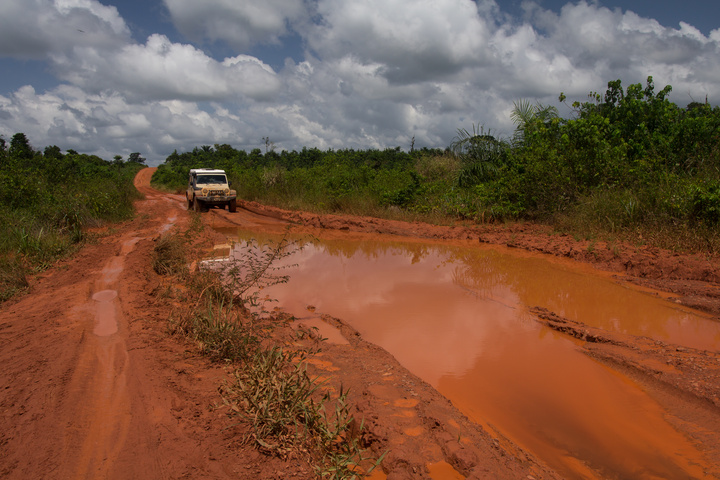 One of the many, many mud holes on the highway