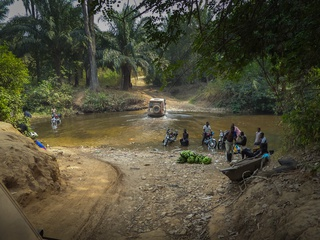 Crossing the international border from Nigeria into Cameroon. Not so official