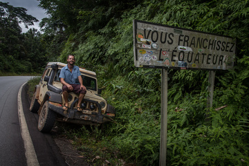 Dan and Jeep. Equator.