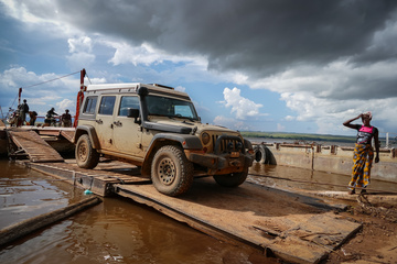 Coming off the ferry, on the Southern side of the Congo River