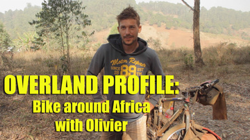 Olivier riding around Africa