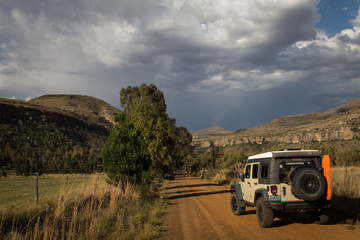 Heading towards the bigger mountains of Lesotho