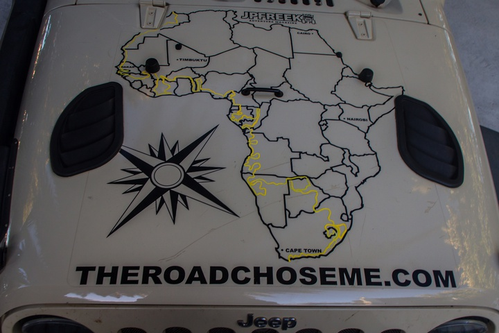 jeep hood map half way around africa 720x480