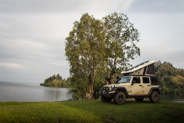Camping on the shore of Lake Kivu